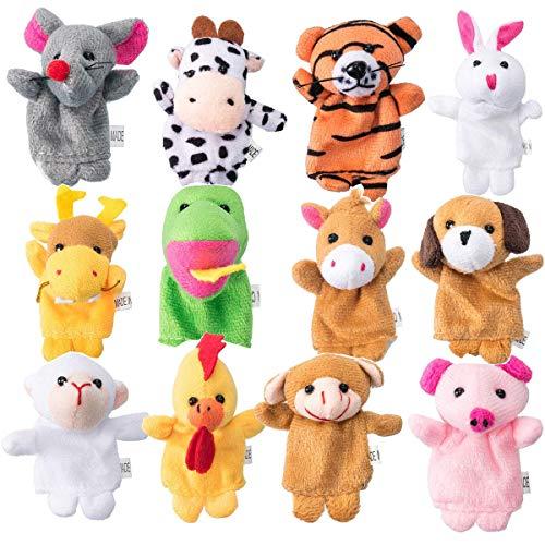 mengger Marionetas Dedo Animales Mano Juguetes educativos Juguete de Cuento Juego 12 Piezas Muñeca de Peluche Muñeca para niños Marioneta de Dedos