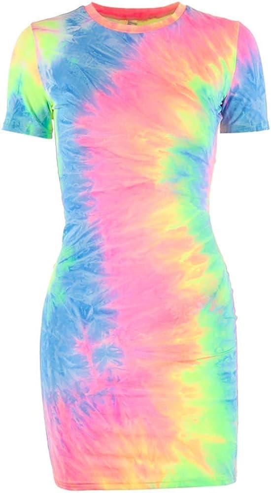 Nihsatin Womens Tie Dye T-Shirt Dress Short Sleeve Bodycon Party Dress
