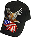 Patriotic Baseball Cap/Hat American Flag Bald Eagle Hat Red White and Blue (One Size) (Black)