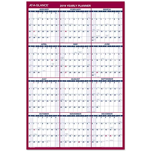 AT-A-GLANCE 2019 Yearly Wall Calendar, 36 x 24, Large, Erasable, Dry Erase, Reversible, Vertical/Horizontal, Blue/Red (PM2628)