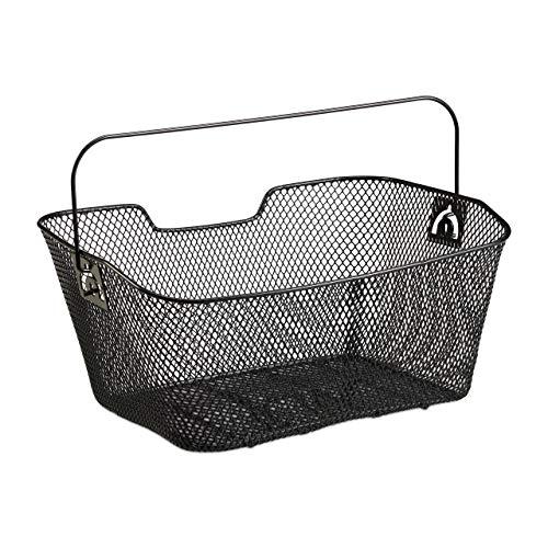 Relaxdays Fahrradkorb für Gepäckträger, engmaschig, mit Tragebügel, abnehmbarer Hinterradkorb, HBT 19x41x30 cm, schwarz