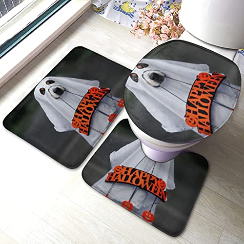 PANILUR 3 Unidades Antideslizante Juego de Alfombras para,Perro Fantasma Disfraz Celebración Feliz Halloween,Transpirable de Alfombras Suave Agua Absorbente WC Cuarto de Baño Alfombra Antideslizante