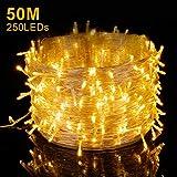 Elegear Guirnalda Luces exterior 250 LEDs 50m Cadena de luces Impermeable Iluminación Interior o Exterior 8 Modos de Luz Decorativas para Navidad,Fiestas,Bodas,Dormitorio,Jardines, Bar (250LEDs*50M)