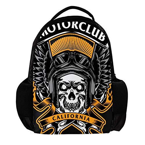 Motor Club Skull Regalo para Mochilas Daypack para niños, Fashion Travel Schoolbag, Bolsas de Estudiante portátil para niños o niñas Holds, 27.5x13x40cm