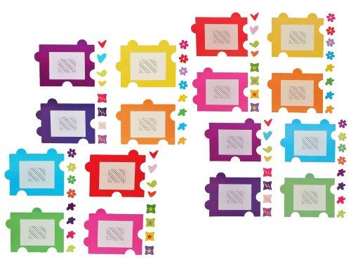 alles-meine.de GmbH 80 TLG. Set: XL Wandtattoo / Sticker -  Fotorahmen als Puzzle  - Herzen Blumen für Bilder - Wandsticker Aufkleber Bilderpuzzle Bilderrahmen selbstklebend - ..