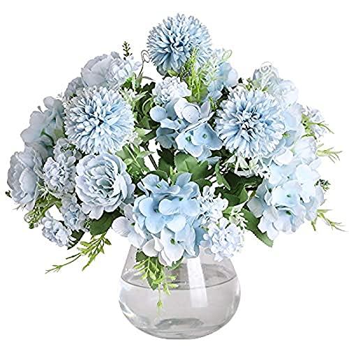 YYHMKB 3 Piezas Artificial Falso Lindo peonía Seda Hortensia Ramo Tumba hogar Primavera Hermosa Hortensia Flor Artificial para decoración de jardín de Boda (Azul)