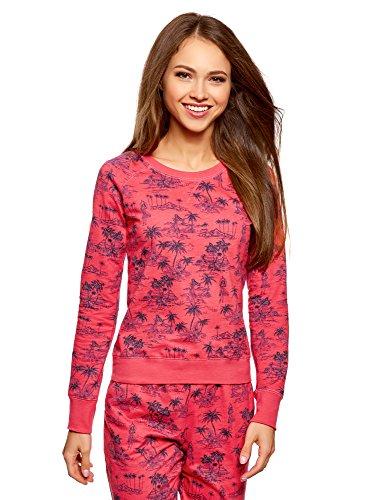 oodji Ultra Damen Bedrucktes Sweatshirt Basic, Rosa, DE 38 / EU 40 / M