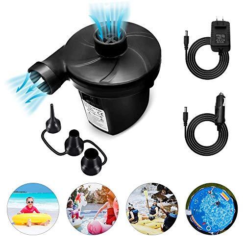 HHOOMY Elektrische Luftpumpe Luftmatratze Pumpe, 2 in 1 Elektropumpe Power Pump mit 3 Luftdüse für Bett Pools Boote Floß Luftmatratzen aufblasbares Spielzeug