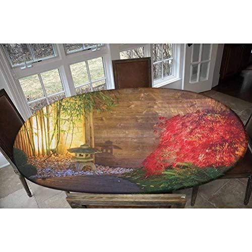 Housse de table en polyester élastique - Lanterne japonaise et érable rouge dans un jardin zen automnal - Nappe rectangulaire / ovale élastique - Convient aux tables jusqu'à 121,9 cm de large x 172,7 cm de long