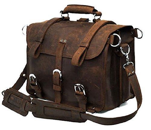 YAAGLE Echtes Leder Herren Verrückte Pferdeleder Schultertasche Kuriertasche Reisetasche Umhängetasche Handtasche