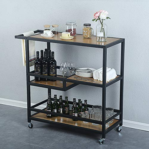 MBQQ Industrial & Modern Rustic Rolling Bar and Serving Cart,3-Tiered Wood & Metal Kitchen Bar Cart Island with Wheels,Move Storage Coffee/Wine Island Shelf,Black