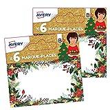 AVERY - Lot de 12 marque-places de Noël traditionnels floral