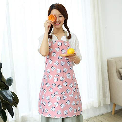 LYDCX Japanische Baumwolle Leinen Schürze Küche Hause Druck Niedlich Einfache Ölbeständige Schürze Rot 74X59Cm