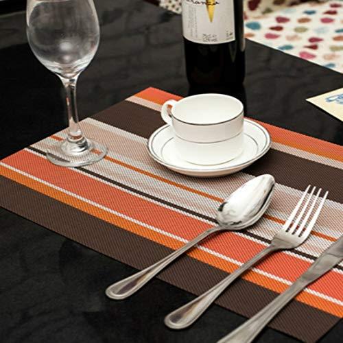 Küchenutensilien MMGZ 2 PCS Küche Dinning Tabelle Tischset Servietten hitzebeständige PVC-Streifen-Mat Tischset Manteles Deckchen Coaster Cup Pad (grün) Die hohe qualität. (Color : Orange)