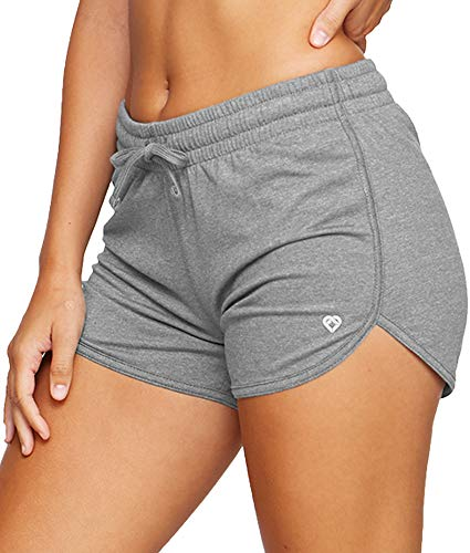 Colosseum Active Women's Simone Cotton Blend Yoga and Running Shorts (Smoked Pearl, Medium)