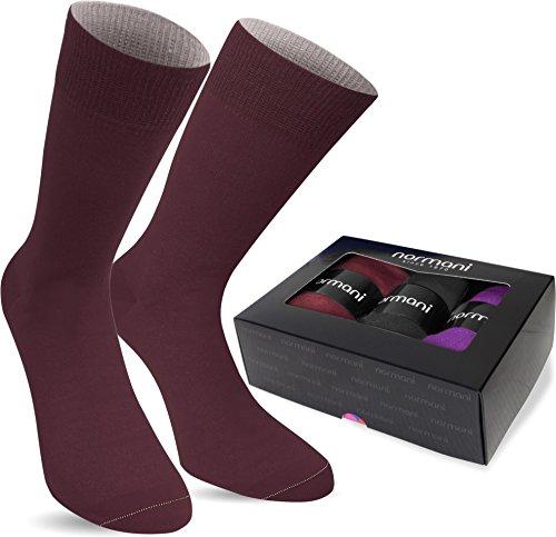 normani 3 Paar Multicolor Socken Bunte Strümpfe für Damen und Herren Farbe Schwarz/Bordeaux/Lila Größe 43/46