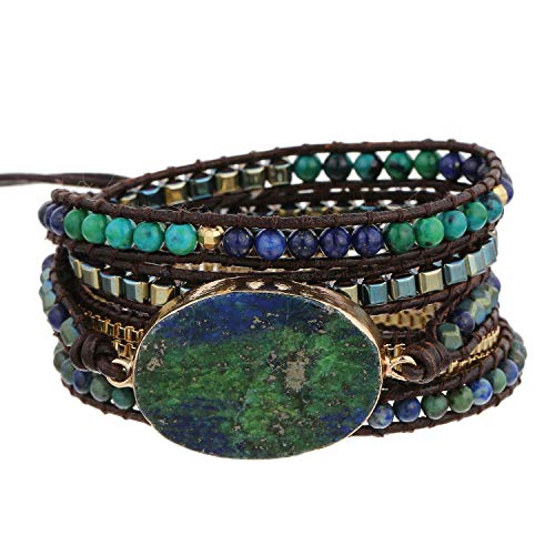 Plumiss Boho Leather 5 Wrap Natural Stone Bracelet Handmade Gemstone Beaded Bracelet Jewelry Collection (Chrysocolla)