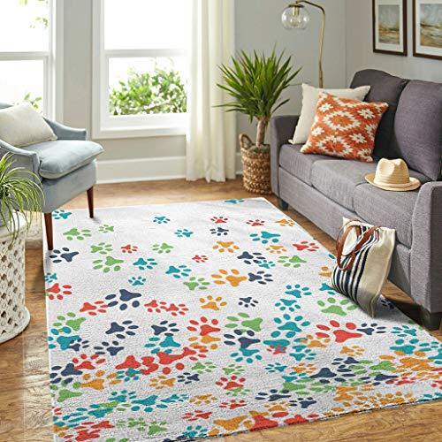 Veryday Alfombra decorativa con diseño de perro, para el salón, para la puerta del dormitorio o la habitación de los niños, color blanco, 122 x 183 cm
