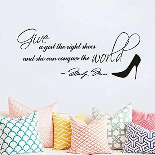 Rjjrr Hot Fashion Black Monroe Und Schuhe Wandaufkleber Geben Sie Einem Mädchen Die Leichten Schuhe Und Sie Kann Die Welt Erobern Zitate Lettle Mural
