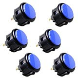 (Black & Blue) - 6 Piece Original SANWA OBSF-30 arcade button 30mm snap in buttons for arcade joystick controller & video game console (Black & Blue)