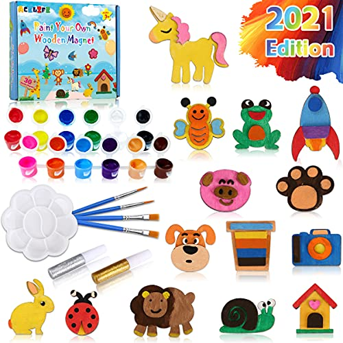 AceLife 30 STK. Bastelset Kinder Holz Magnet Kühlschrankmagnet zum Bemalen und Basteln für Kinder ab 3 4 5 6 7 8 Jahre, Mal-Set DIY Spielzeug Geburtstagsfeier Gefälligkeiten, Holzmagnete Zum Bemalen