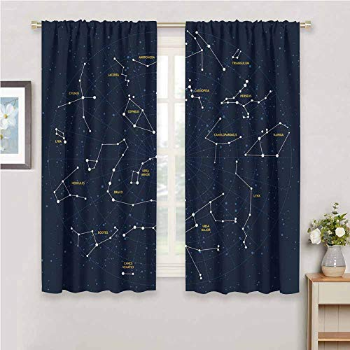 DIMICA Room Darkening Curtains for Bedroom Constellation Sky Map Andromeda Lacerta Cygnus Lyra Hercules Draco Bootes Lynx Print Bedroom Curtains Decor W72 x L72 Inch Dark Blue Yellow White