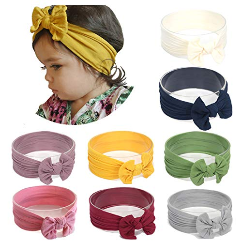Simoda Fascia per capelli in nylon per neonati e bambini, estremamente morbida ed elastica 8 pezzi #1. M