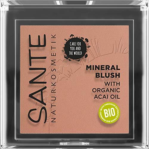SANTE Naturkosmetik Mineral Blush 02 Coral Bronze, natürliches Rouge mit seidig-weicher Textur, verleiht natürliche Frische und setzt strahlende Farbakzente, mit wertvollem Bio-Acaiöl,Vegan, 5 g