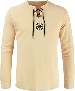 vOPRvana1n Men Retro T-Shirts, Plus Size Ancient Viking Embroidery Pattern Cross Drawstring Neck Long Sleeve Shirt Top Beige XXXXL