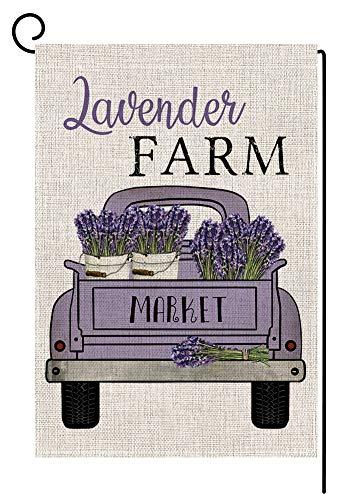 Lavender Farm Truck Small Garden Flag Vertical Double Sided 12.5 x 18 Inch Summer Farmhouse Burlap Yard Outdoor Decor