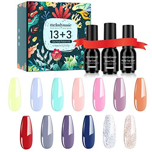 MelodySusie Gel Nail Polish Kit with No Wipe Base and Glossy & Matte Top Coat, Soak Off UV/LED Nail Polish Gel Nail Art Salon Nail Starter Gel Manicure Kit Best Gift Set (Macaron Mood)