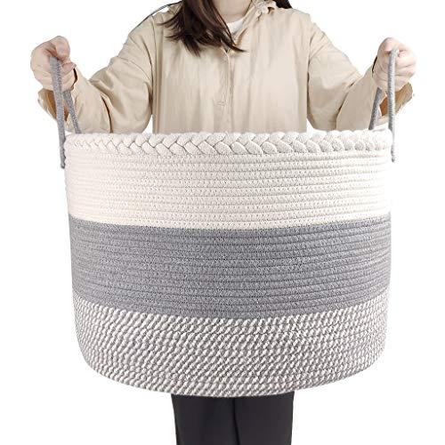 IvyH Extra Groß Baumwollseilkorb, 50 x 50 x 33 cm Wäschekorb Baumwollseilkorb Geflochtener Baby-Aufbewahrungskiste Wäschekorb für Decken, Kissen und Spielzeug, Aufbewahrungskorb mit Griff -Grau…