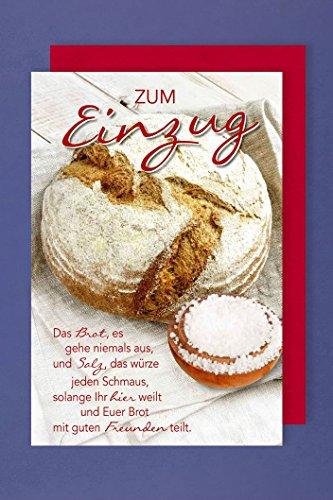 Einzug Grußkarte Das Brot es gehe Niemals aus Brot mit Einer Schale Salz 16x11cm