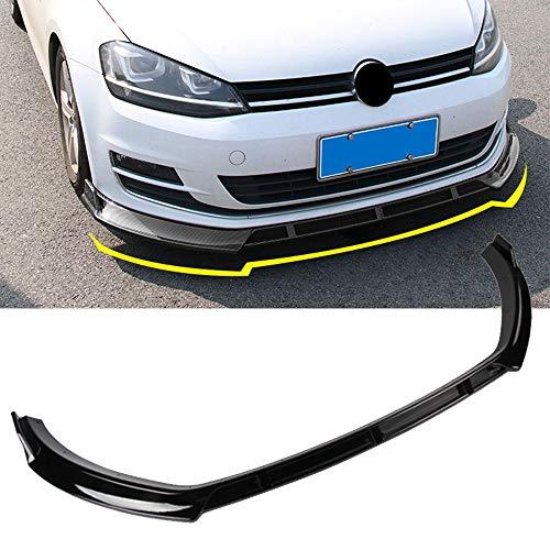 Premium ABS Frontstoßstange Lip Auto Chin Frontspoiler für Golf 7/7.5 MK7 GTI GTD 7R 2014-2019, Front Splitter Trim Protection Spoiler, Kohlefaser/Schwarz
