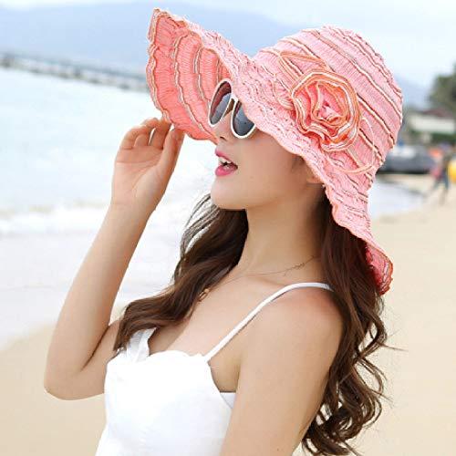 ZFLL Zonnehoed nieuwe mode vrouwen hoed Korea stijl bloem inpakbaar grote breedte rand hoed anti-UV-verstelbare dames floppy strach zonnehoed, roze