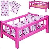alles-meine.de GmbH Set: großes - Puppenbett aus Holz - mit Bettzeug - 43 cm lang - Mädchen - Bett...