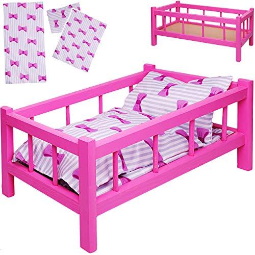 alles-meine.de GmbH Set: großes - Puppenbett aus Holz - mit Bettzeug - 43 cm lang - Mädchen - Bett aus Buntem Naturholz - für große Puppen groß - Matratze Decke & Kopfkissen - Ki..
