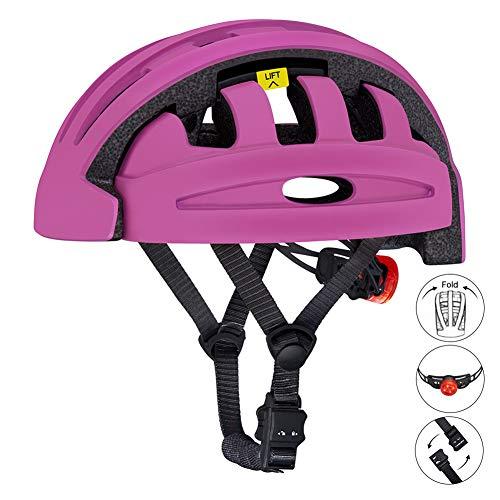BLLJQ Casco de Bicicleta para Hombres, Casco Plegable de Bicicleta MTB para Mujer con Luz de Seguridad, Súper Ligero de Seguridad para Andar en Bicicleta Deportes al Aire Libre,Púrpura