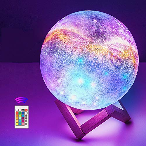 18cm Mondlampe mit Fernbedienung,OxyLED Sternenhimmel Dekoleuchte 3D Mond Kunst LED RGB Mondlampe tragbares Nachtlicht mit Dimmbar,16 Lichtfarben Wechsel,Weihnachten,Geburtstag