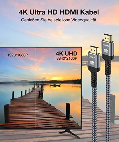 4K HDMI Kabel 2Meter, Snowkids Highspeed HDMI 2.0 Kabel 4K@60Hz 18Gbps Nylon Geflecht Vergoldete Anschlüsse mit Ethernet/Audio Rückkanal, Kompatibel mit Video 4K UHD 2160p, HD 1080p-Grau