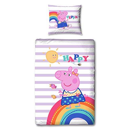 Peppa Pig - Juego de cama infantil reversible (100 % algodón, 80 x 80 cm, funda nórdica de 135 x 200 cm, 2 diseños, cierre de cremallera)