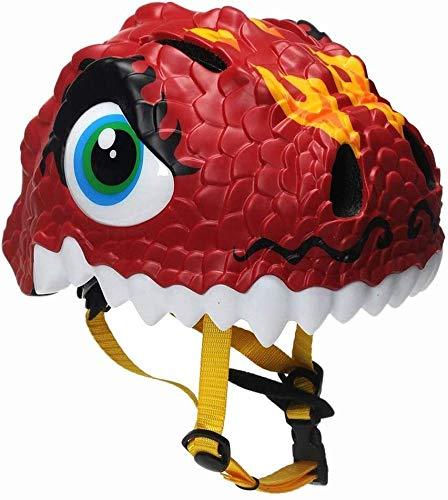Yppss Kinder-Fahrradhelm, 3D Dinosaurier Mehr Sicherheit for Kinder Fahrradhelm, Einstellbarer Roller Helm for Kinder Baby Junge, 49-54cm Kinder Fahrradhelm Eternal (Color : Red)