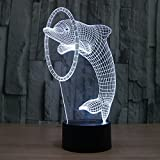 Cute Dolphin Night Light 3D LED illusion 7 Color Touch Button Desk Lamp Room Decor Light