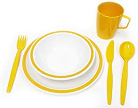 HQ Polycarbonate Plastic Harfield Yellow /& White Duo Camping Dinner Set