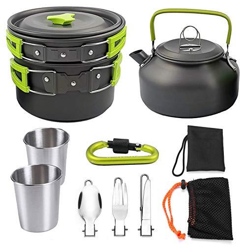 AIYIFU 12 pcs Camping Utensilios de Cocina Conjunto de Carabiner, Excursionismo al Aire Libre Picnic No-Stick Cocina Mochila con Cuchillo y Tenedor Plegable,Green