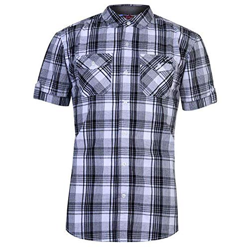 Lee Cooper Herren-Hemd, kariert, Schwarz/Weiß/Rot Gr. XL, weiß / schwarz