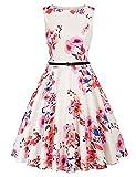 Vestido sin Mangas de Verano Liso para Mujer con Cinturón Cuello Redondo para Fiesta Elegante CL330S21-05 L