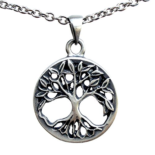 Viking Celtic Yggdrasil Tree of life Bonsai Pagan silver pewter pendant charm (Stainless Steel Necklace)