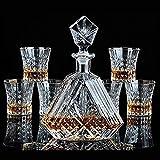 TQJ Botella de Whisky con Vaso Juego de vinos de Cristal, decantador de Vidrio de Vidrio de Vidrio de Whisky Botella de Whisky Regalo