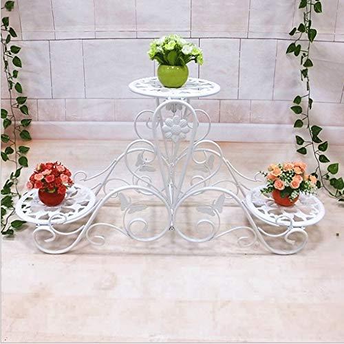Chenweiwei Bloemenrek met 2 niveaus, creatief uiterlijk, ijzeren kunstbloemframe, modern, eenvoudig uithollen met de hand gesneden, bloemen- en vlinderpatroon, balkon, woonkamer, bloemenrek